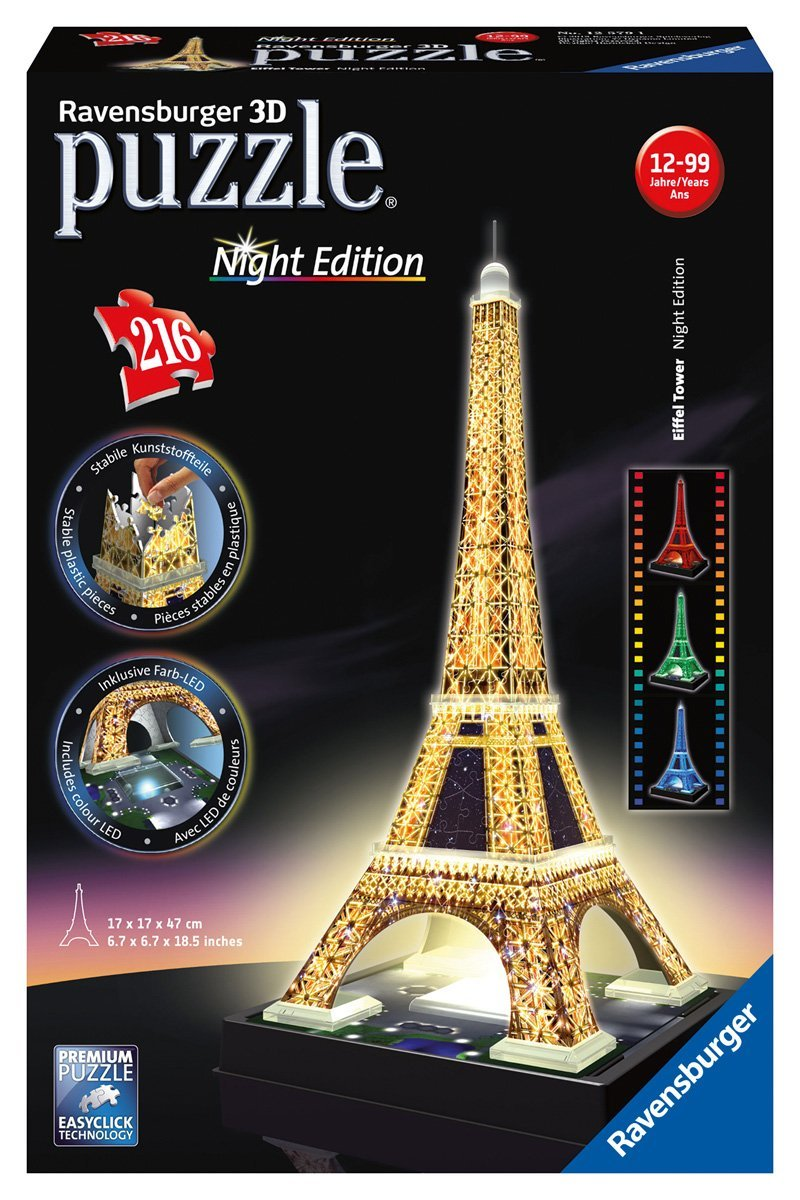 eiffel tower light up 3d puzzle 216pc u need us goods for fun. Black Bedroom Furniture Sets. Home Design Ideas