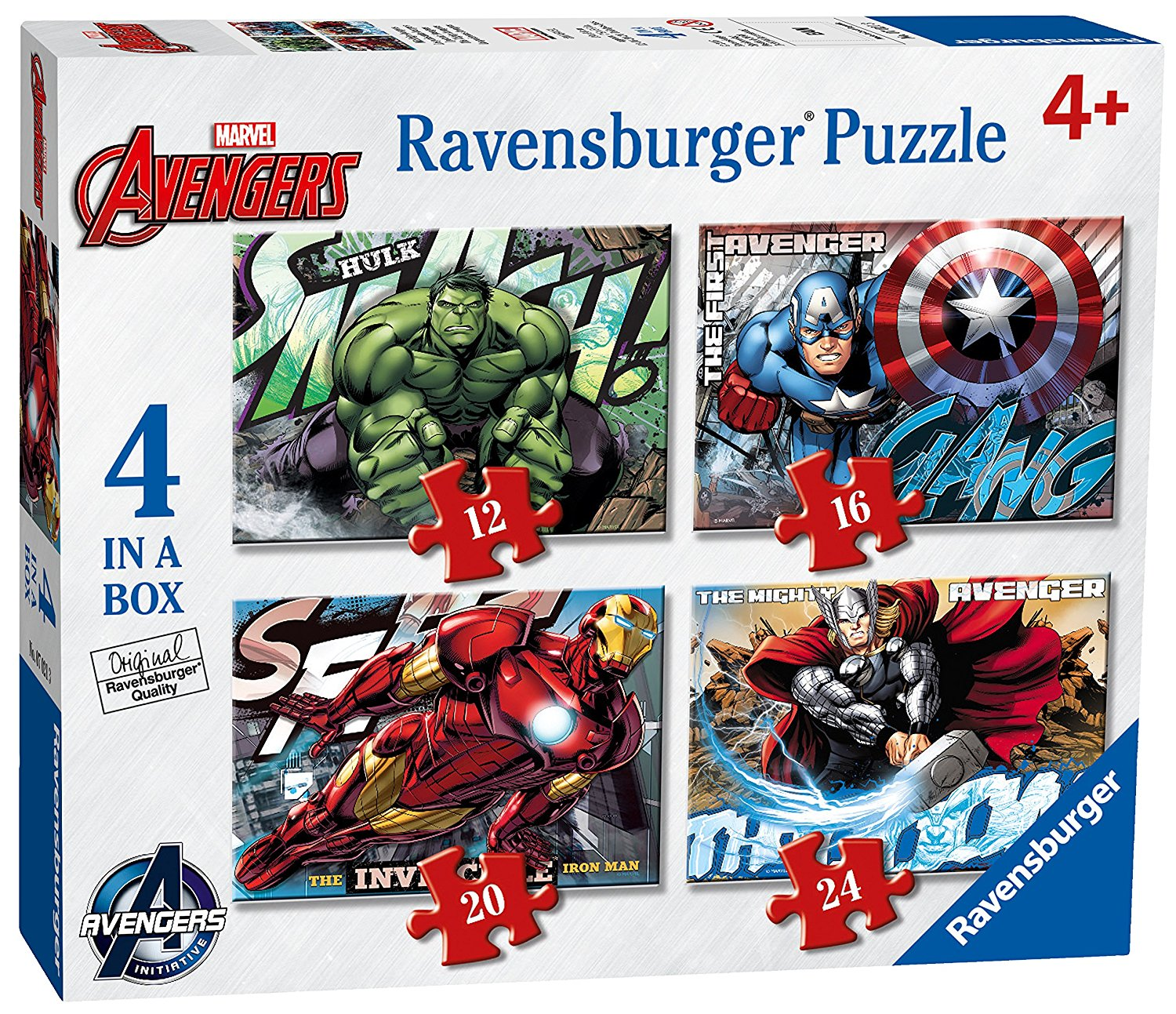 Marvel Avengers Assemble, 4 in Box, 12pc, 16pc, 20pc & 24pc