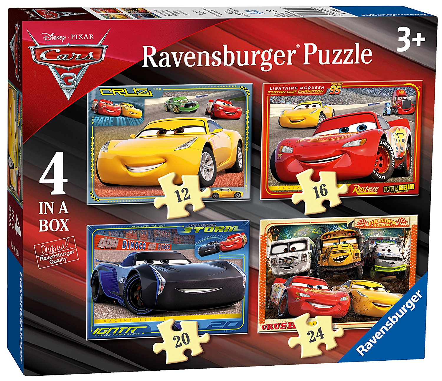 Disney Cars 3, 4 in Box, 12pc, 16pc, 20pc & 24pc