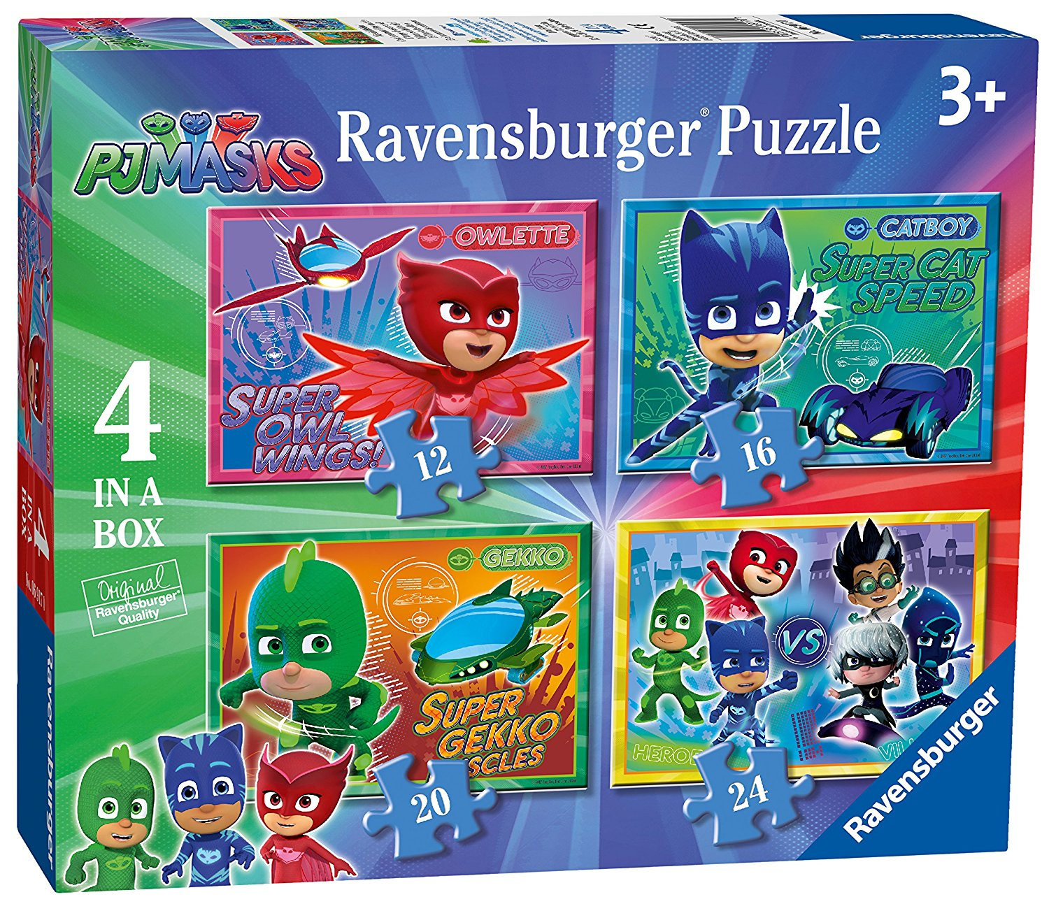 PJ Masks, 4 in Box, 12pc, 16pc, 20pc & 24pc