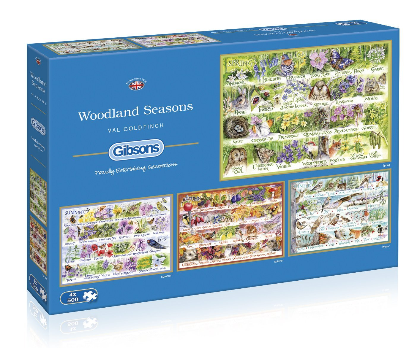 Woodland Seasons, 4 x 500pc Puzzles