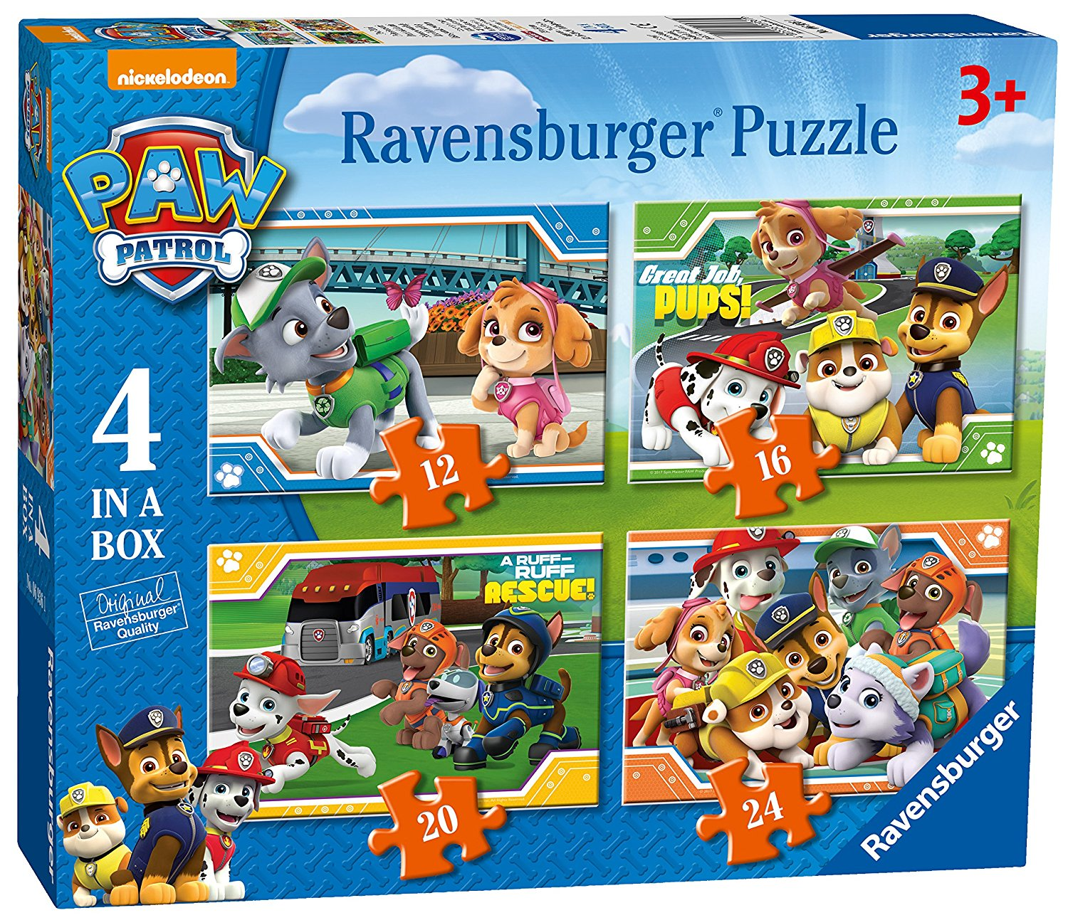 Paw Patrol 4 in Box, 12pc, 16pc, 20pc & 24pc