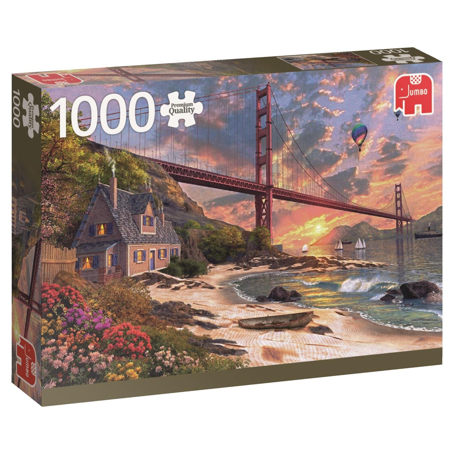 Premium Collection Jumbo, Golden Gate Bridge, San Francisco, 1000 Piece Falcon Jigsaw