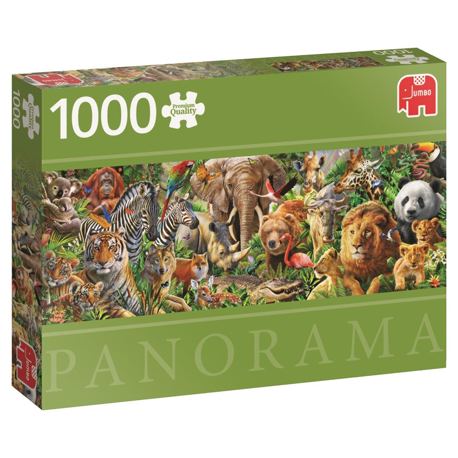 Premium Collection Jumbo, African Wildlife Panoramic, 1000pc Falcon Jigsaw Puzzle