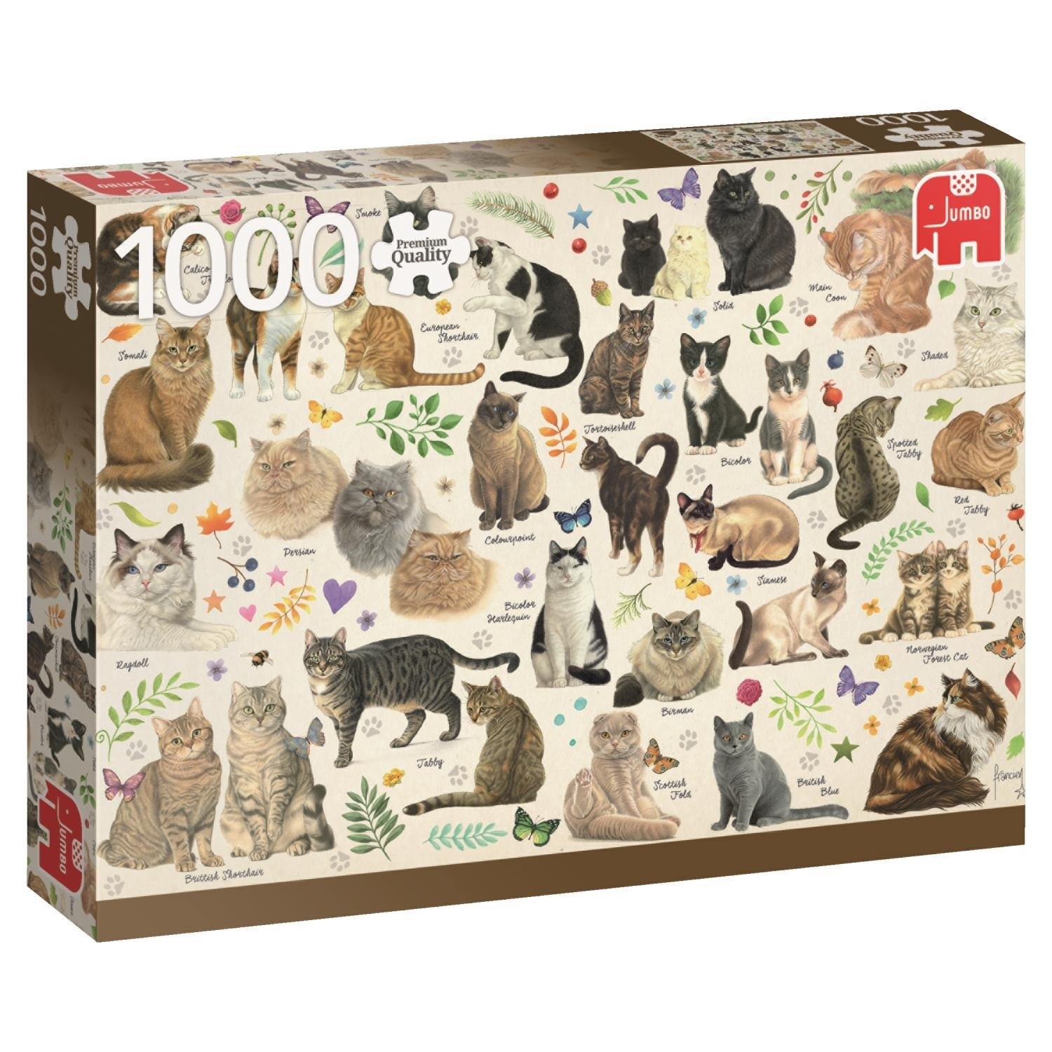 Premium Collection Jumbo, Cats Poster, 1000pc Falcon Jigsaw Puzzle
