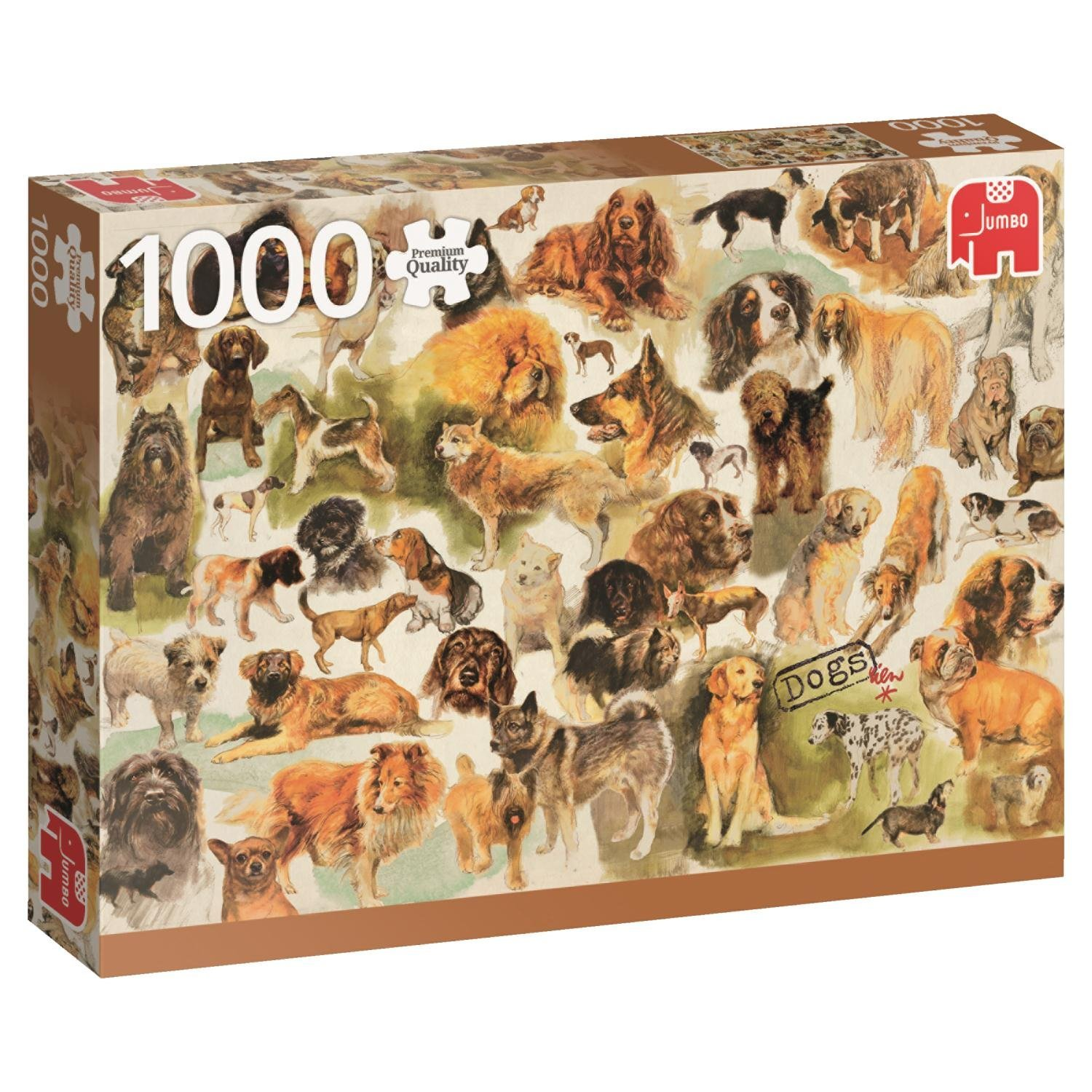 Premium Collection Jumbo, Dogs Poster, 1000pc Falcon Jigsaw Puzzle
