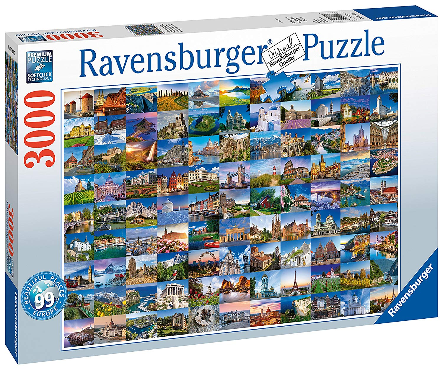 99 Beautiful Places in Europe, 3000pc Puzzle